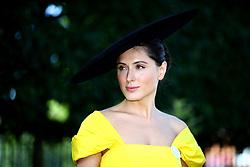 Racegoer Valerie Stark wears an Yves Saint Laurent hat during day five of Royal Ascot at Ascot Racecourse.