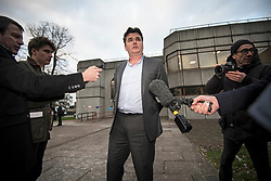 © Licensed to London News Pictures. 23/02/2018. Ilford, UK. Former BHS owner DOMINIC CHAPPELL talks to media as he leaves Barkingside Magistrates' Court in Ilford, London, following his sentence for not disclosing information to The Pensions Regulator. Chappell, who was charged with neglecting to hand over vital documents relating to the purchase of BHS, paid Sir Philip Green for £1 for the retail store in 2015. It subsequently crashed, with 11,000 jobs lost, leaving a pensions black hole of over £570m. Photo credit: Ben Cawthra/LNP
