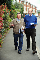 © Licensed to London News Pictures. 24/10/2014<br /> Mr Robert Izzard helping Mark Reckless UKIP candidate for Rochester and Strood fight a by-election yesterday (23.10.2014).<br /> UKIP has chosen its candidate to fight the Tonbridge and Malling Constituency at the next General Election.<br /> He is Robert Izzard from Crowborough<br /> , a retired IT sales manager. His <br /> last position was as an international sales enabler for Adobe Software.<br /> The seat has been held by Tory Sir John Stanley since <br /> its creation in 1974, but Sir John is stepping down at the election in May.<br /> (Byline:Grant Falvey/LNP)