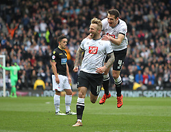 Johnny Russell of Derby County (C) celebrates scoring his sides first goal - Mandatory by-line: Jack Phillips/JMP - 09/04/2016 - FOOTBALL - iPro Stadium - Derby, England - Derby County v Bolton Wanderers - Sky Bet Championship
