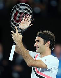 MELBOURNE, Jan. 28, 2018  Switzerland's Roger Federer celebrates after winning the men's singles final match against Croatia's Marin Cilic at Australian Open 2018 in Melbourne, Australia, Jan. 28, 2018. (Credit Image: © Li Peng/Xinhua via ZUMA Wire)