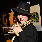 Oriana Curls holding a snake at BBC1 All Together Now Series 1 Cast Members, fright night at The London Bridge Experience & London Tombs on 28 October 2018, London, UK.