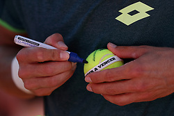 May 6, 2018 - Estoril, Portugal - Joao Sousa of Portugal signs a ball after winning the Millennium Estoril Open ATP 250 tennis tournament final against Frances Tiafoe of US, at the Clube de Tenis do Estoril in Estoril, Portugal on May 6, 2018. (Joao Sousa won 2-0) (Credit Image: © Pedro Fiuza/NurPhoto via ZUMA Press)