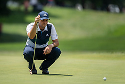 August 5, 2018 - Akron, OH, U.S. - AKRON, OH - AUGUST 05:   Sergio Garcia (ESP) lines up his putt on the fifth green during the final round of the World Golf Championships - Bridgestone Invitational on August 5, 2018 at the Firestone Country Club South Course in Akron, Ohio. (Photo by Shelley Lipton/Icon Sportswire) (Credit Image: © Shelley Lipton/Icon SMI via ZUMA Press)