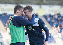 Falkirk's Rory Loy (right) celebrates after scoring their second goal with Falkirk's Luke Leahy.<br /> Falkirk 2 v 1 Queen of the South, Scottish Championship 5/10/2013.<br /> ©Michael Schofield.