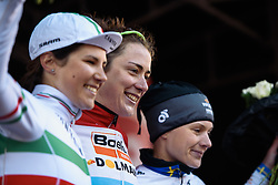 Race winner Christine Majerus on the top step of the podium at Dwars door de Westhoek 2016. A 127km road race starting and finishing in Boezinge, Belgium on 24th April 2016.