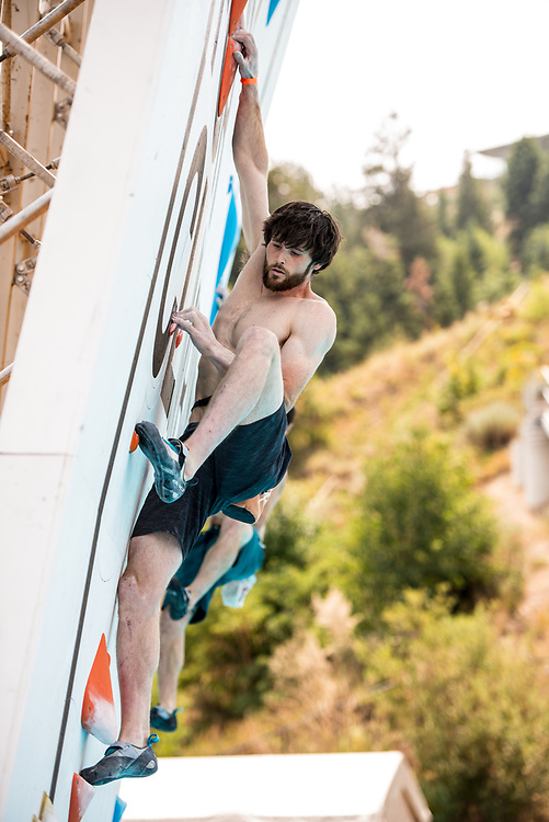 Jimmy Webb climbing in the seeding round of 2018 Psicobloc Masters in Park City, Utah.