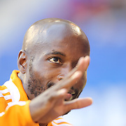 DaMarcus Beasley, Houston Dynamo, reacts to fans during warm up before the New York Red Bulls Vs Houston Dynamo, Major League Soccer regular season match at Red Bull Arena, Harrison, New Jersey. USA. 4th October 2014. Photo Tim Clayton