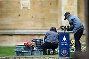 Collected flowers are placed on the lawn inside Windsor Castle after the death of Britain's Prince Philip in Windsor on Sunday, April 11, 2021. Britain's Prince Philip, the irascible and tough-minded husband of Queen Elizabeth II who spent more than seven decades supporting his wife in a role that most defined his life, died on Friday. (Photo/ Vudi Xhymshiti)