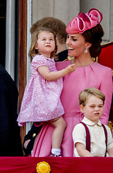 Duke and Duchess of Cambridge's children Prince George and Princess Charlotte on the balcony during the Trooping The Colour Parade in London, UK, on June 17, 2017. photo by Robin Utrecht/ABACAPRESS.COM