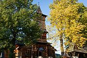 Exterior of the wooden Church of St. Kazimierz built 1910-1916, on 17th September 2019, in Koscielisko, Zakopane, Malopolska, Poland.