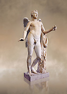 Statue of Eros known as The Genie of Borghese - a  Roman copy of a 4th century BC Greek original from Rome, Monte Cavallo. The statue belonged to Domenico Biondo, employee of Pope Paul V Borghese. The statue joined in 1608 in the collection of Scipio Borghese. Wings, arms and legs of Eros, formerly called Genie Borghese, are modern. In the 18th century it was much admired, especially in France, as one of the seven most important parts of the collection Borghese. The Borghese Collection Inv No. MR 207 or Ma 435, Louvre Museum, Paris. .<br /> <br /> If you prefer to buy from our ALAMY STOCK LIBRARY page at https://www.alamy.com/portfolio/paul-williams-funkystock/greco-roman-sculptures.html- Type -    Louvre    - into LOWER SEARCH WITHIN GALLERY box - Refine search by adding a subject, place, background colour,etc.<br /> <br /> Visit our CLASSICAL WORLD HISTORIC SITES PHOTO COLLECTIONS for more photos to download or buy as wall art prints https://funkystock.photoshelter.com/gallery-collection/The-Romans-Art-Artefacts-Antiquities-Historic-Sites-Pictures-Images/C0000r2uLJJo9_s0c