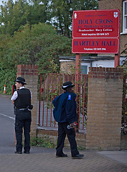 ©Licensed to London News Pictures 06/09/2020 <br />  Lewisham, UK. The murder happened opposite Holly Cross school. A murder investigation has been launched in Lewisham, South East London following the stabbing of a 34 year old man who was found with a wound to his neck in the early hours of Sunday morning. The man was pronounced dead at the scene.<br />  Photo credit: Grant Falvey/LNP