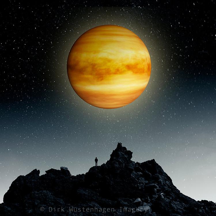 Portrait of planet Venus. Photoi llustration