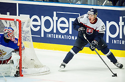 Vladimir Dravecky of Slovakia vs Sergei Bobrovski of Russia (L) during Ice Hockey match between Slovakia and Russia at Day 10 in Group B of 2015 IIHF World Championship, on May 10, 2015 in CEZ Arena, Ostrava, Czech Republic. Photo by Vid Ponikvar / Sportida