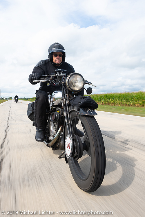 Todd Cameron riding his 1930 BSA Sloper in memory of his Grandfather, JD John Cameron, a motorcycle racer, restorer and founding member of the Boozefighters MC, to a first place win in the Cross Country Chase motorcycle endurance run from Sault Sainte Marie, MI to Key West, FL (for vintage bikes from 1930-1948). Stage 3 from Milwaukee, WI to Urbana, IL. USA. Sunday, September 8, 2019. Photography ©2019 Michael Lichter.
