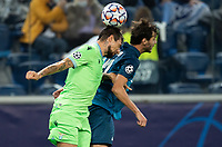SAINT PETERSBURG, RUSSIA - NOVEMBER 04: Marco Parolo of SS Lazio beats Aleksandr Yerokhin of Zenit St Petersburg to the header during the UEFA Champions League Group F stage match between Zenit St. Petersburg and SS Lazio at Gazprom Arena on November 4, 2020 in Saint Petersburg, Russia. (Photo by MB Media)