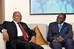 DURBAN, May 4, 2017  South African President Jacob Zuma (L) meets with Zimbabwean President Robert?Mugabe during bilateral talks on the sidelines?of World Economic Forum on Africa in Durban, South?Africa, on May 4, 2017. The three-day World Economic Forum on Africa 2017 kicked off here on Wednesday. (Credit Image: © Xinhua via ZUMA Wire)