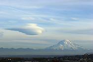 Dramatic spaceship looking cloud hovering near Mt. Rainier Nov. 7, 2004. (Photo/John Froschauer)