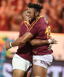 Cape Town-180416  University of Stellenbosch player player Munier Hartzebnerg celebrates his try with teammate Brandon Valentyn against UNW in a Varsity Cup final played at Dani Craven stadium in Sellenbosch .photographer:Phando Jikelo/African News Agency/ANA