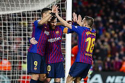 January 30, 2019 - Barcelona, Spain - FC Barcelona forward Luis Suarez (9) with his teammates of FC Barcelona celebrates after scoring the goal during the match FC Barcelona v Sevilla CF, for the round of 8, second leg of the Copa del Rey played at Camp Nou  on 30th January 2019 in Barcelona, Spain. (Credit Image: © Mikel Trigueros/NurPhoto via ZUMA Press)