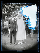 damaged outdoors wedding portrait France 1923