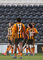 Hull City's Keane Lewis-Potter is congratulated by George Honeyman after he scores his side's first goal  in the 22nd minute<br /> <br /> Photographer Lee Parker/CameraSport<br /> <br /> The EFL Sky Bet League One - Hull City v Oxford United - Saturday 13th March 2021 - KCOM Stadium - Kingston upon Hull<br /> <br /> World Copyright © 2021 CameraSport. All rights reserved. 43 Linden Ave. Countesthorpe. Leicester. England. LE8 5PG - Tel: +44 (0) 116 277 4147 - admin@camerasport.com - www.camerasport.com