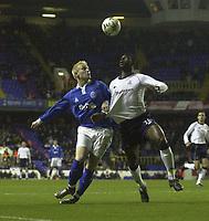 Fotball<br /> Premier League - Tottenham v Birmingham<br /> 7. januar 2004<br /> White Hart Lane - London<br /> Foto: Digitalsport<br /> Norway Only<br /> Mikael Forssell (t.v) fra Birmingham og Tottenhams Ledey King