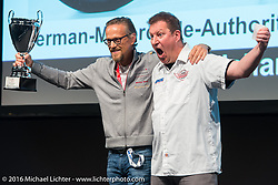 AMD World Championship of Custom Bike Building Award Ceremony on the stage in the custom dedicated Hall 10 at the Intermot Motorcycle Trade Fair. Cologne, Germany. Sunday October 9, 2016. Photography ©2016 Michael Lichter.