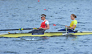Reading. United Kingdom.  GBR W2-. Bow Helen GLOVER and Heather STANNING, in the opening strokes of the morning time trial. 2014 Senior GB Rowing Trails, Redgrave and Pinsent Rowing Lake. Caversham.<br /> <br /> 10:43:02  Saturday  19/04/2014<br /> <br />  [Mandatory Credit: Peter Spurrier/Intersport<br /> Images]