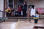 02072019 - Bloomington, Indiana, USA:  A family's home is flooded on Spring Street in Bloomington, Indiana after a flash flood.