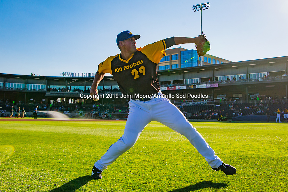 Amarillo Sod Poodles pitcher Kyle Lloyd (29) before the game against the Frisco RoughRiders on Saturday, Aug. 17, 2019, at HODGETOWN in Amarillo, Texas. [Photo by John Moore/Amarillo Sod Poodles]