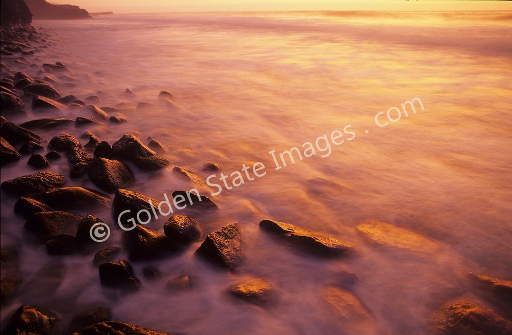 Long exposure on wash rocks at Sunset in La Jolla.