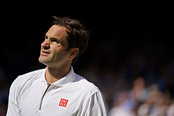 LONDON, ENGLAND - Tuesday, July 2, 2019: Roger Federer (SUI) during the Gentlemen's Singles first round match on Day Two of The Championships Wimbledon 2019 at the All England Lawn Tennis and Croquet Club. (Pic by Kirsten Holst/Propaganda)