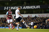 Kyle Walker of Tottenham Hotspur takes a shot to score his teams 4th goal to make it 4-0. Barclays Premier league match, Tottenham Hotspur v West Ham Utd at White Hart Lane in London on Sunday 22nd November 2015.<br /> pic by John Patrick Fletcher, Andrew Orchard sports photography.