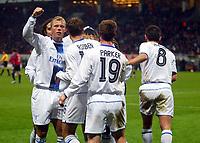 Photo: Scott Heavey/Digitalsport<br /> CSKA Moscow v Chelsea. Champions League Group H. 01/11/2004.<br /> Chelsea celebrate the opener from Arjen Robben