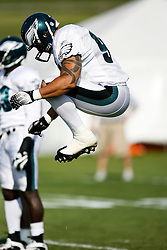 Philadelphia Eagles Linebacker Matt Wilhelm warms up during the Philadelphia Eagles NFL training camp in Bethlehem, Pennsylvania at Lehigh University on Saturday August 8th 2009. (Photo by Brian Garfinkel)