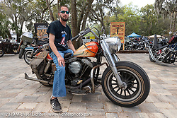 Tino Periat with his 1978 Harley-Davidson FLH with an Aermacchi tank at Warren Lane's True Grit Antique Gathering bike show at the Broken Spoke Saloon in Ormond Beach during Daytona Beach Bike Week, FL. USA. Sunday, March 10, 2019. Photography ©2019 Michael Lichter.
