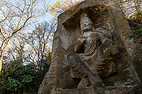 The giant Maitreya Bodhisattva statue is what Takatori Park is famous for. This Maitreya Bodhisattva statue was sculpted by Shigeru Fujishima in 1965. Mt. Takatori is characterized by vertically steep rocks which is likened to Mt. Myogi in Gunma Prefecture. The view from the summit is outstanding, and it is crowded with people who enjoy hiking on holidays.  The steep rock formations are unusual for this area, and visitors can see many unusual shapes, some which have been cut for the sake of tombstones and walkways.  Rock climbing at Takatoriyama Park is popular here but requires  the guidance of the Mt. Takatori Safety Climbing Council instructor.