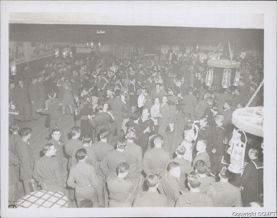1944 Looking down at the servicemen on the first floor of the Hollywood Canteen.