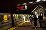A train bound for San Francisco waits at the Dublin / Pleasanton BART rapid transit station in Dublin, California.