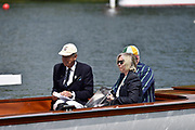 Henley on Thames, England, United Kingdom, 3rd July 2019, Henley Royal Regatta  Time keepers and race officials at the back of the umpires launch, Henley Reach, [© Peter SPURRIER/Intersport Image] left, Doc Peter THOMAS, Mark BLANDFORD-BAKER, AN Other, <br /> <br /> <br /> 11:49:02 1919 - 2019, Royal Henley Peace Regatta Centenary,
