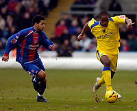 Photo: Alan Crowhurst.<br />Crystal Palace v Cardiff City. Coca Cola Championship. 04/02/2006. <br />Cameron Jerome (R) of Cardiff attacks the Palace defence.