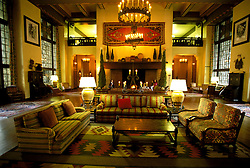 CA: Yosemite National Park, Great Lounge, Ahwahnee Hotel    .Photo Copyright: Lee Foster, lee@fostertravel.com, www.fostertravel.com, (510) 549-2202.cayose211
