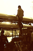 Photo. © Peter Spurrier/ Images.01/03/2004  -  Varsity Boat Race Challenge..Cambridge crew load the trailer.[Mandatory Credit Peter Spurrier/ Intersport Images] Varsity: Boat race Sunrise, Sunsets, Silhouettes