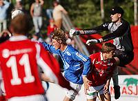 Keeper André Ulla, Kongsvinger. Tor Hogne Aarøy, Aalesund. Kai Olav Ryen, Kongsvinger. <br /> <br /> Fotball: Kongsvinger - Aalesund 2-2 (5-2 e. straffer). NM 2004 herrer, 3. runde. 8. juni 2004. (Foto: Peter Tubaas/Digitalsport.
