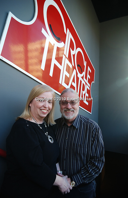 Rose Pearson, left, and Bill Newberry on the stairwell leading down to  Circle Theatre on January 11, 2011 in Fort Worth, Texas. Photographer: robert w. hart