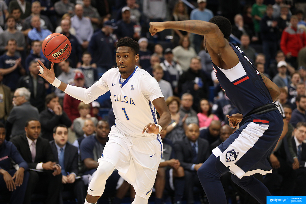Rashad Smith, Tulsa, in action during the UConn Huskies Vs Tulsa Semi Final game at the American Athletic Conference Men's College Basketball Championships 2015 at the XL Center, Hartford, Connecticut, USA. 14th March 2015. Photo Tim Clayton