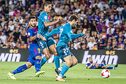 August 13, 2017 - Barcelona, Catalonia, Spain - FC Barcelona forward SUAREZ in action during the Spanish Super Cup Final 1st leg between FC Barcelona and Real Madrid at the Camp Nou stadium in Barcelona (Credit Image: © Matthias Oesterle via ZUMA Wire)