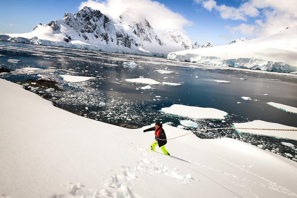 Going up to the Spigot Peak from Orne Harbor, Antarctica
